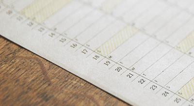 YEARLY CALENDER 2015 日付部分