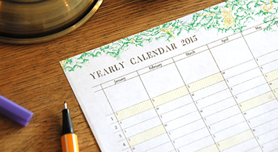 YEARLY CALENDER 2015 イメージ